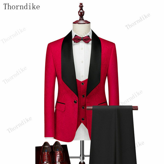 Thorndike Mens Wedding Suits  White Jacquard With Black Satin Collar Tuxedo3 Pcs Groom Terno Suits For Men(Jacket+Vest+Pants) 3