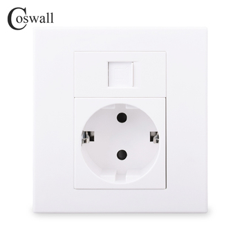 Coswall PC Panel EU Russia Spain Wall Socket + 1 Gang CAT6 RJ45 Internet Computer Data Connector White Color Modular 86*86mm - discount item  7% OFF Electrical Equipment & Supplies
