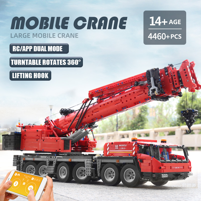 MOULD KING 17013 High-Tech Building Blocks The APP RC Motorized Red GMK Crane Assembly Kits