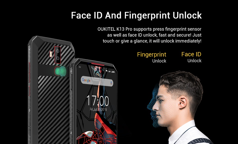 OUKITEL K13 Pro Android 9.0 11000mAh 4GB+64GB Smartphone NFC Fast Charge 6.41'' MT6762 Octa Core Face ID 5V/ 6A 4G Mobile Phone