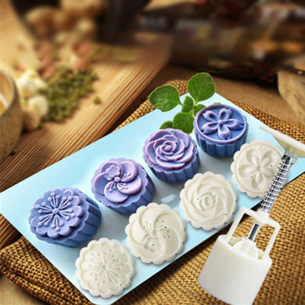 Bunga Putaran Kue Bulan Cetakan Kue Kue Bulan Dekorasi Tekan Cookie dengan Bahan Food Grade ABS