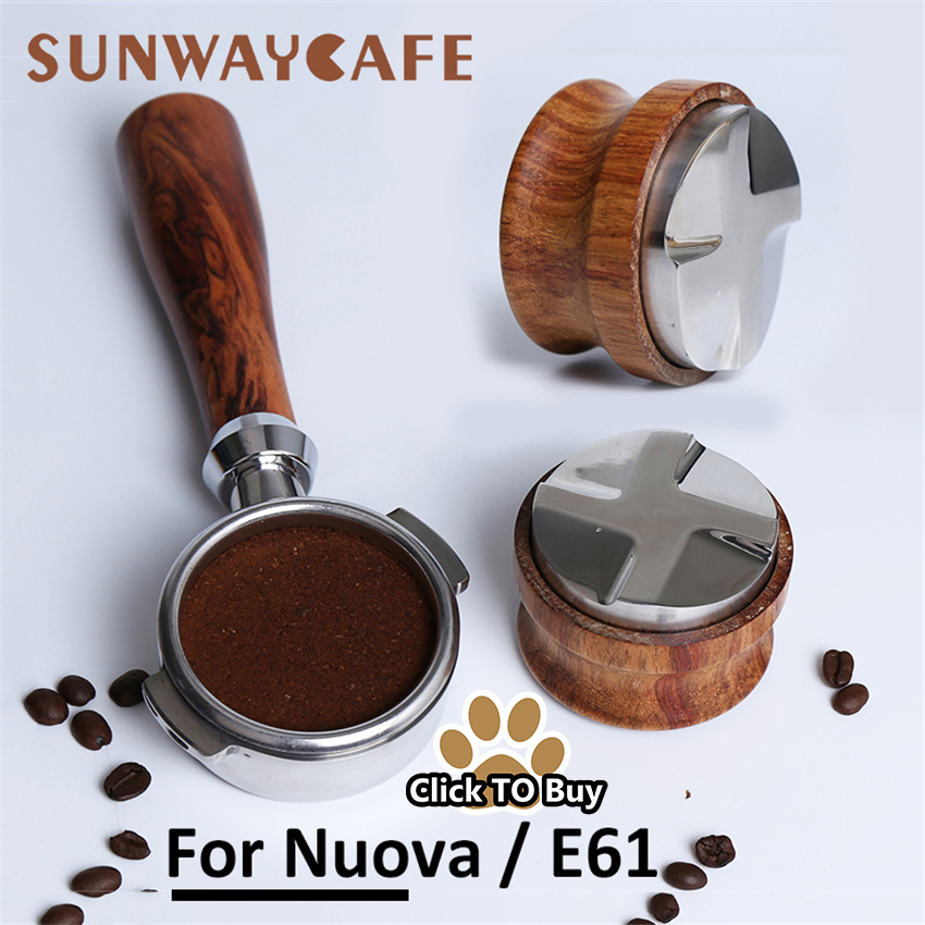 Espresso-Coffee-Machine-Bottomless-Filter-Holder-Portafilter-E61-For-Nuova-58MM-Solid-Wooden-tamper-Stainless-Steel