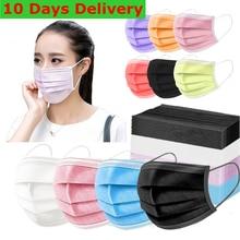 Máscara protetora descartável colorido 3 camadas filtro não tecido pano dustproof máscaras de boca faciais mascarillas negras quirurquijas