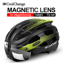 CoolChange Casco Da Bicicletta Con La Luce Antivento Occhiali Bike Casco Ultralight Intergrally-modellato Strada Della Bicicletta MTB Casco di Sicurezza(China)