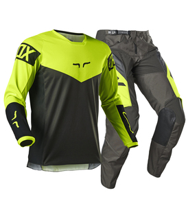 2021 NAUGHTY FOX ATV UTV Racing 180 Revn Fluorescent Yellow Men's Jersey Pant Set SX DH Off-road Dirt Bike Vented Gear Combo