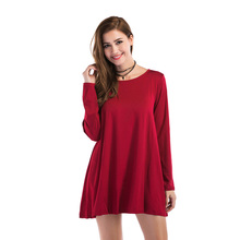 Loose short dress female 2019 new casual solid color A word dress round neck long sleeve wild large swing dress autumn