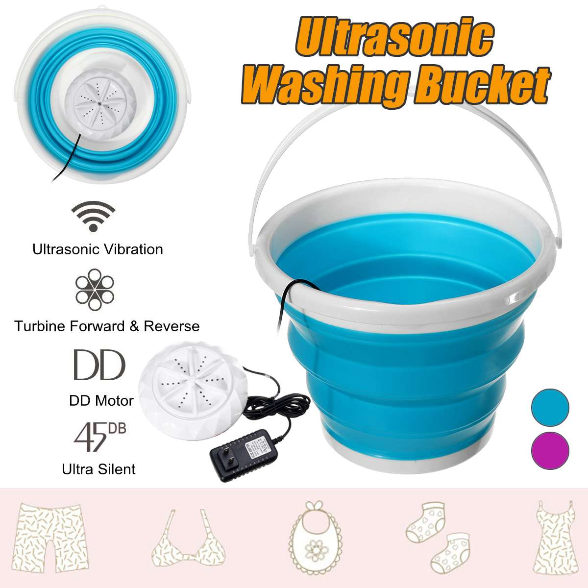 100-240v Mini Ultrasonic Washing Machine Foldable Bucket Type USB Laundry Clothes Washer Cleaner For Home Travel