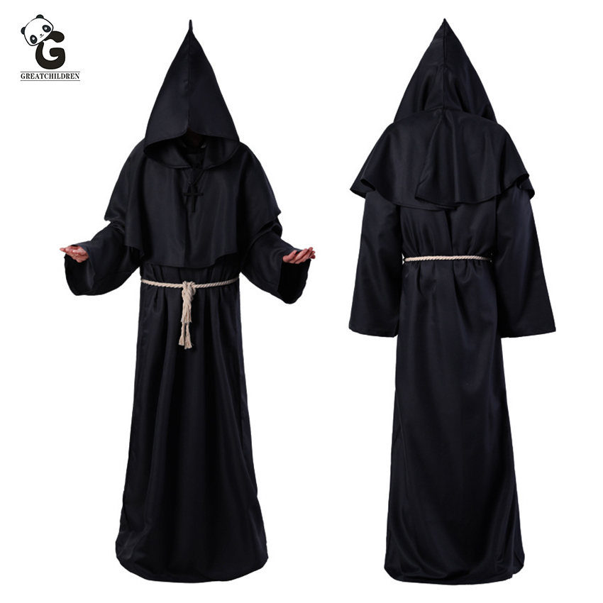 Horror Grim Reaper Costumes Men Vintage Monk Cosplay Plague Doctor Cloak Robe Priest Scary Wizard Halloween Witch Dress Women