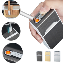 USB Rechargeable Cigarette Case 20pack Metal Cigare
