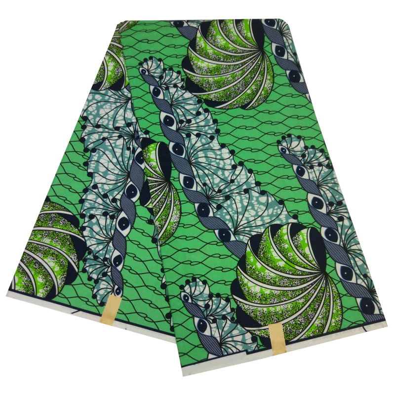 Veritable Wax African Ankara Fabrics 6 Yards Tissu African Polyester Tela Estampadas Verdes Wax Print Fabric For Women