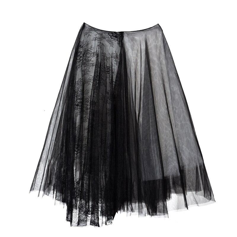 [EAM] черная многослойная сетчатая юбка с высокой талией, женская модная юбка на половину тела, Новинка весна-осень JT1360 - Цвет: Black