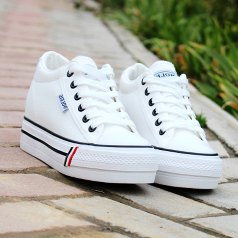 Women vulcanize shoes 2020 breathable canvas women sneakers platform shoes casual footwear lace-up sneakers canvas white shoes
