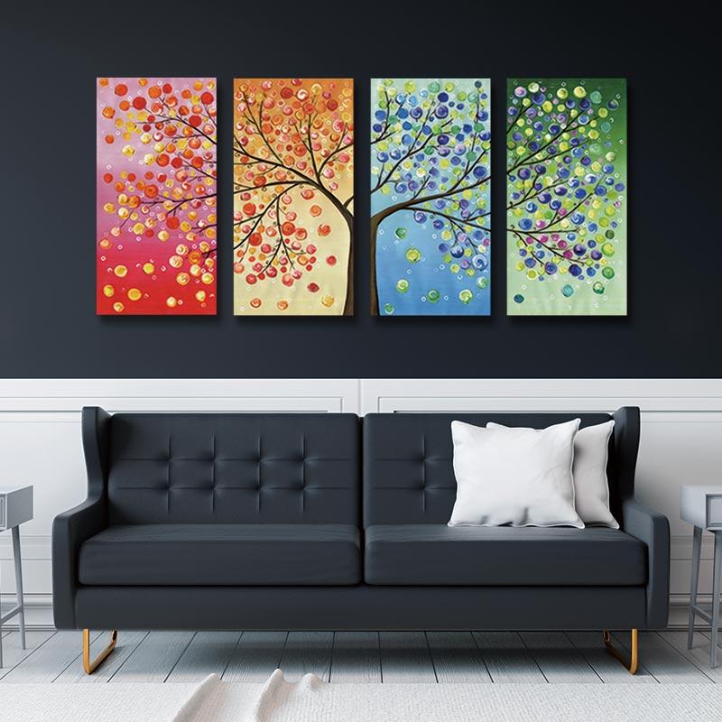 Glück Baum Malerei Leben Baum Bild Baum Leinwand Kunst Vier Saison Familie Baum Poster Bunte Blatt Baum Wand Kunst Leinwand malerei