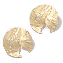 ELEGANCE11 Artistic Round Gold Earrings Minimalist Alloy Circular Stud Earrings Women Costume Earrings for Christmas Jewelry