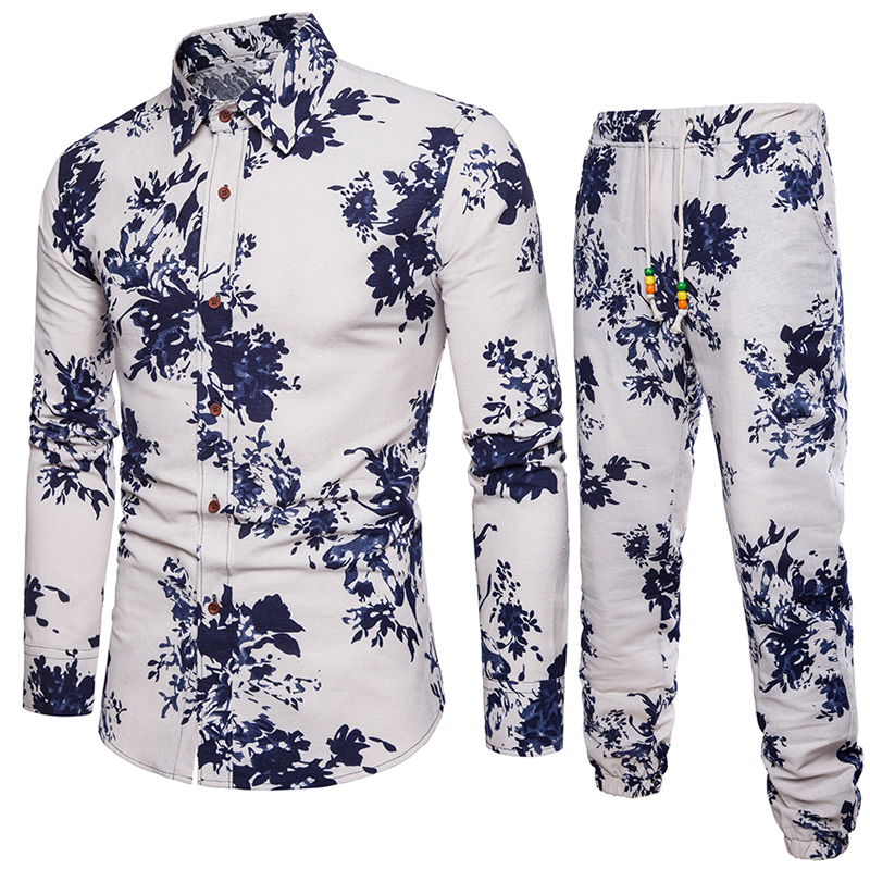 Men Holiday Suit Plant Style Trees Print Clothes High Quality Linen Long Pant Male Tracksuits Plus Size 5XL Europe Boy Party Set