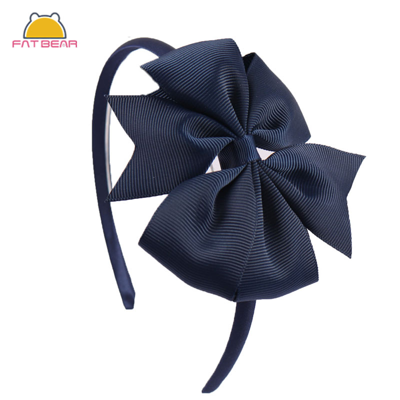 New 4 Inch Solid Hair Bow Hairband Girls Children Pinwheel Hair Band With Grosgrain Ribbon Bow Handmade Kids Hair Accessories