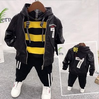 boys clothing sets kids Embroidered Faux leather coat +hoodie+pants for boys 3pcs sets kids clothes children tracksuit 2 6Year