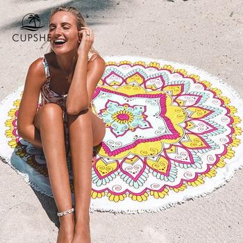 CUPSHE Boho Beach Towels Pineapple Printed 2020 Women Vacation Microfiber Round Fabric Bath Towel With Tassel 8 styles 5