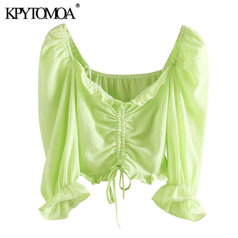 KPYTOMOA Women 2020 Fashion Pleated Ruffled Cropped Blouses Vintage Puff  Sleeve Drawstring Tied Female Shirts Blusas Chic Tops