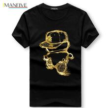 IMANFIVE Men T-Shirts Summer Short Sleeve Casual Cotton tShirts Golden person cartoon printing t shirt men tee 4XL 5XL