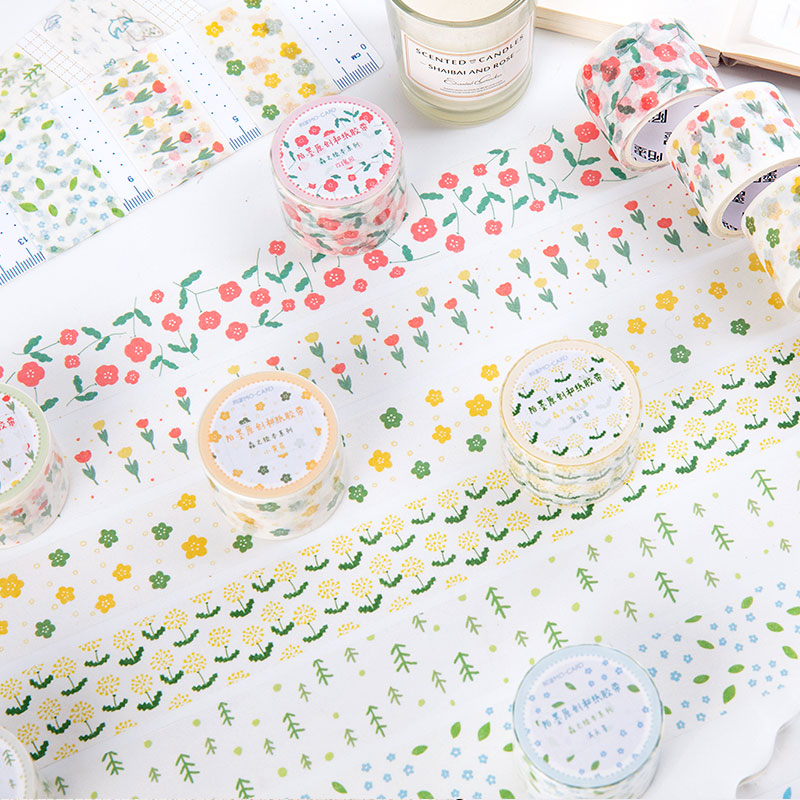 Kawaii Forest Flowers Washi Tape Adhesive Paper Tape School Office Supplies Diy Scrapbooking Decorative Sticker Tape 3cm Wide
