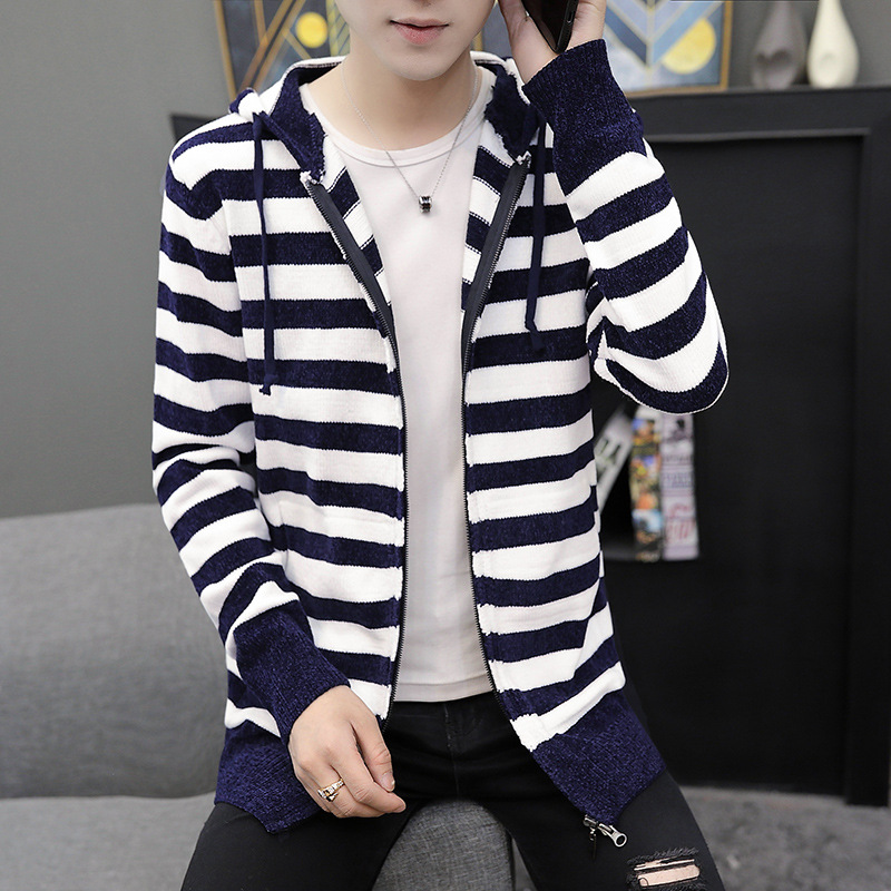 New Autumn And Winter Men's Knit Jacket Cotton Slim Cardigan Men's Hooded Striped Casual Jacket Long Sleeve 3XL Large Size SA-8