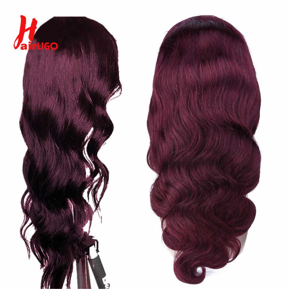 Peluca de cabello humano con cierre de encaje 4x4 con ondas de color rojo ombré peluca Remy Borgoña de Malasia predesplumada densidad 150% para mujeres negras HairUGo