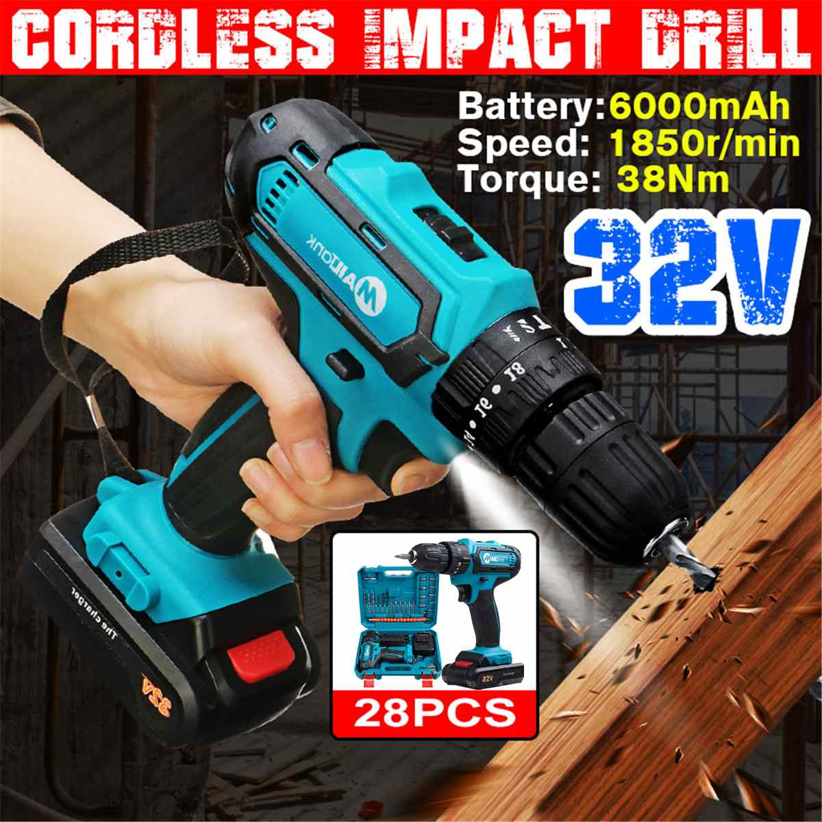 3 In 1 32V Cordless Electric Drill Hammer Screwdriver 2 Speed LED Lighting Impact Drill with Battery 38Nm 18 3 Torque Power Tool