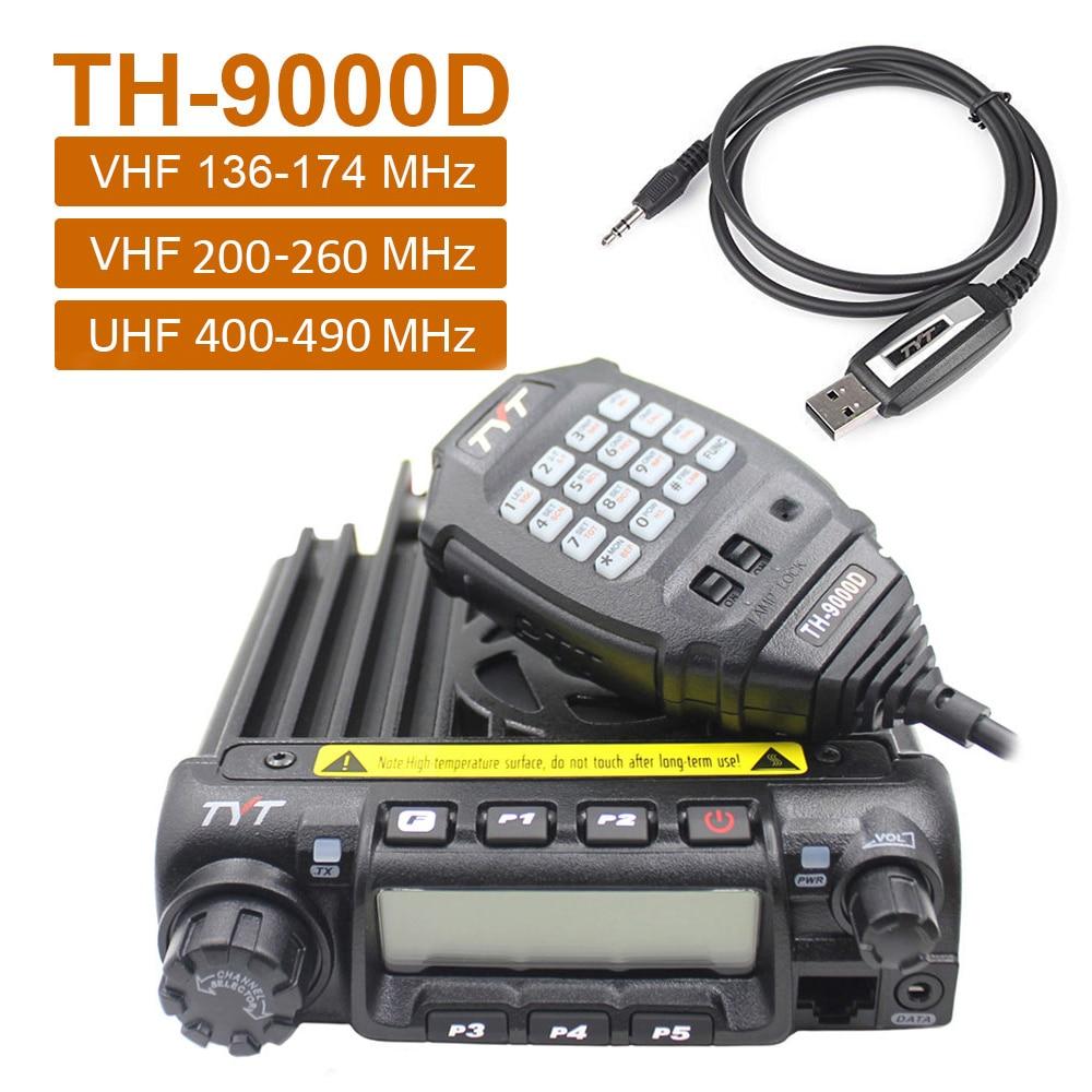 Latest Version TYT TH-9000D Car Mobile Radio 200CH 60W 136-174Mhz 220-260Mhz 400-490Mhz High Power Car Walkie Talkie Ham Radio