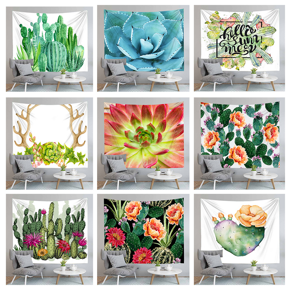 Boho Decoration 3d Cactus Succulent Printed Yoga Mat Wall Art Hanging Tapestry Home Decor Bedspread Blanket Large Size|Tapestry|   - AliExpress