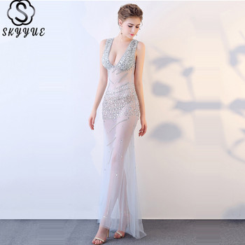 Skkyue Evening Gown Sequin Elegant Evning Dresses 2019 Deep V-Neck Cystal Sleeveless Eveing Gown Backless Robe De Soiree H032