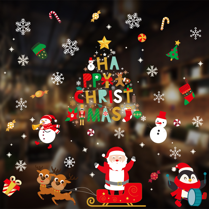 DIY Merry Christmas Wall Stickers Window Glass Stickers Christmas Decorations For Home Christmas Ornaments Xmas New Year 2021
