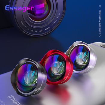 Essager 4K Wide Angle Macro Lens for iPhone Huawei 0.6X+15X Phone Camera Lens Zoom Lens for Smartphone Cell Mobile Phone Lenses