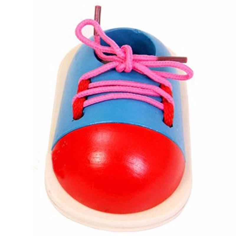Hot-1 Pcs Kids Educational Toys Children Wooden Toys Toddler Lacing Shoes Early Education Teaching Aids