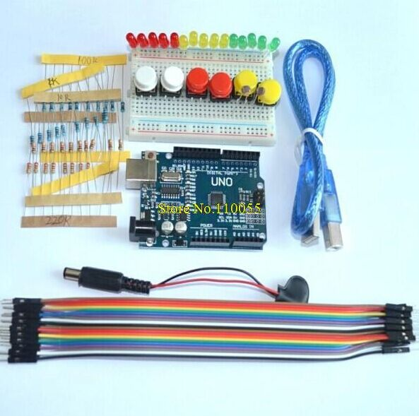 1PCS/LOT Starter Kit UNO R3 Mini Breadboard LED Jumper Wire Button