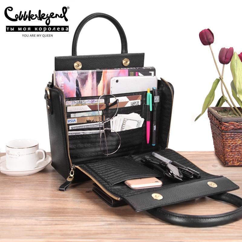 Cobbler Legend Super Organizer Handbag Genuine Leather Black Messenger Bag Designer Top Handle Bags Women Tote Soft Satchel 2019