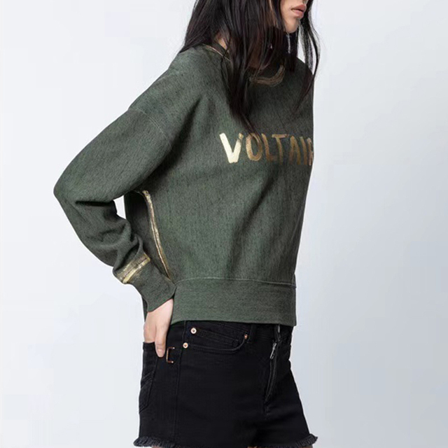 Rowling Green Letter Printing Women Sweatshirt 2021 Autumn New O Neck Long Sleeve Casual Wild Lady Sweatshirt  Pullover Tops 3