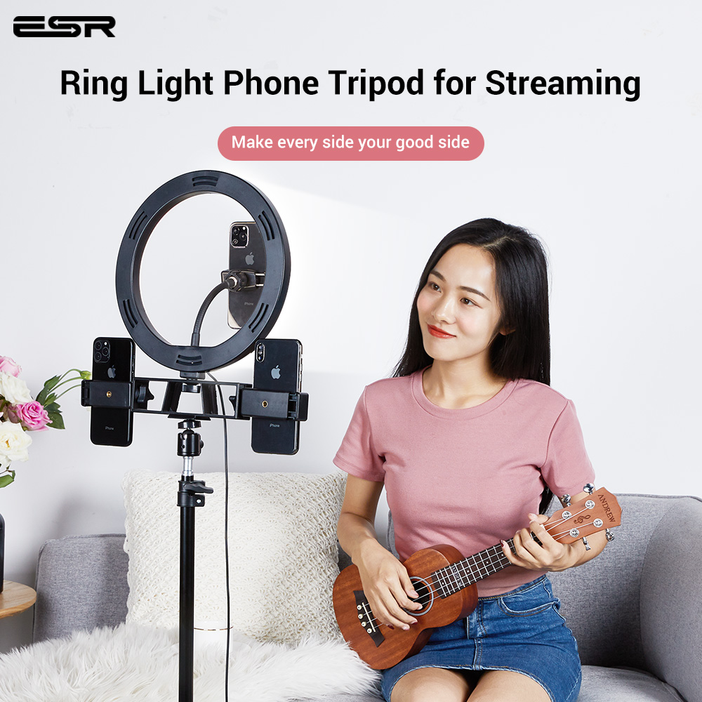 ESR Luz de vídeo regulable LED Selfie anillo luz USB Lámpara de luz de fotografía soporte de teléfono 2M trípode soporte para maquillaje Youtube