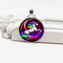 2019 new fashion multicolored unicorn crystal glass necklace pendant art gift
