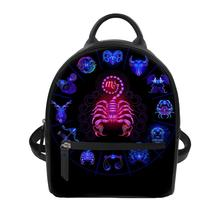 HaoYun 12 Constellations Print PU Backpack Female Backpacks Small School Bag Pack For Teenager Hip Pop Girl Daypack Mochila