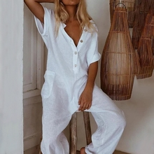 Women Jumpsuit Elegant Button V Neck Cotton Linen Jumpsuits