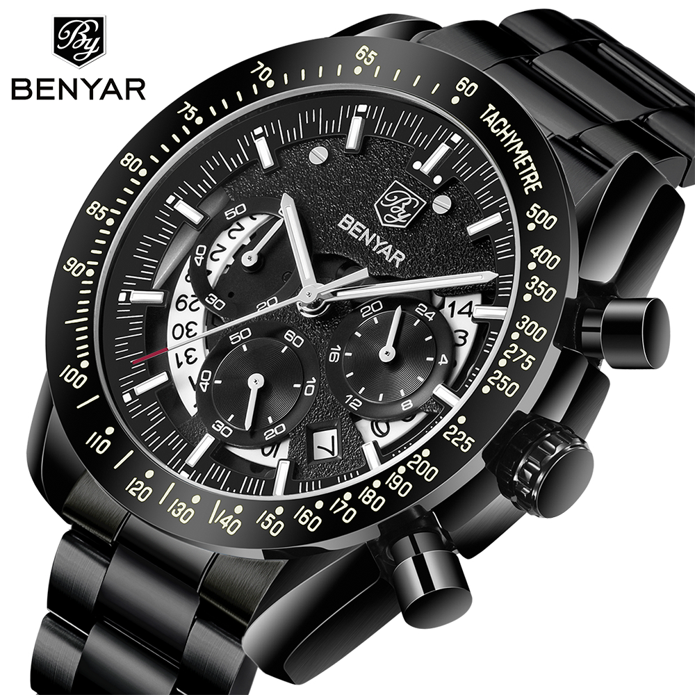 2020 BENYAR Top Brand Luxury Men Sports Watch Male Casual Full Steel Date Wristwatches Men's Quartz Watches Relogio Masculino