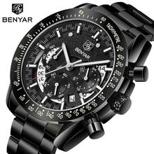 2020 BENYAR Топ Бренд роскошные мужские спортивные часы мужские повседневные полностью Стальные наручные часы с датой Мужские кварцевые часы Relogio Masculino