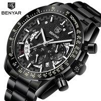 2020 benyar 최고 브랜드 럭셔리 남성 스포츠 시계 남성 캐주얼 전체 스틸 날짜 손목 시계 남성 쿼츠 시계 relogio masculino