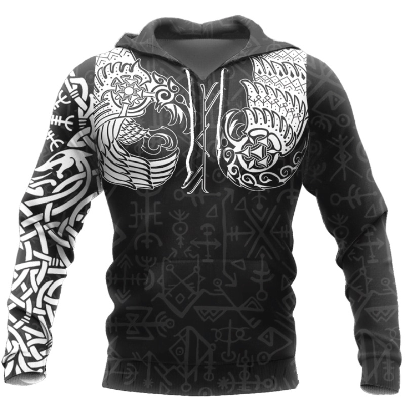 Viking Odin Tattoo 3D Printed Men Hoodies Harajuku Fashion Hooded Sweatshirt Autumn Unisex Street Hoodie Sudadera Hombre WS-335