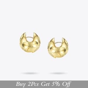 Image 2 - ENFASHION Punk Fußball Hoop Ohrringe Für Frauen Gold Farbe Kleine Kreis Ball Geschmolzenen Hoops Ohrringe Modeschmuck Aros E191103