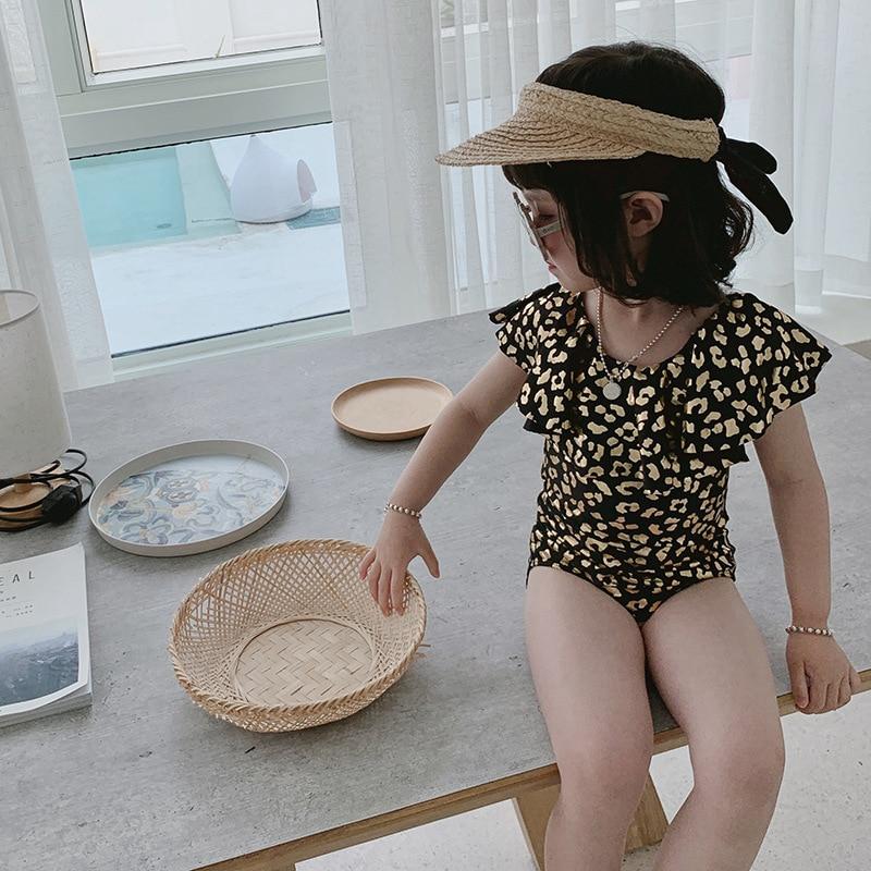 Children New Style One-piece Bikini Set Lotus Leaf Shoulder Bronze Leopord Pattern Children Infants Baby Girls Swimsuit