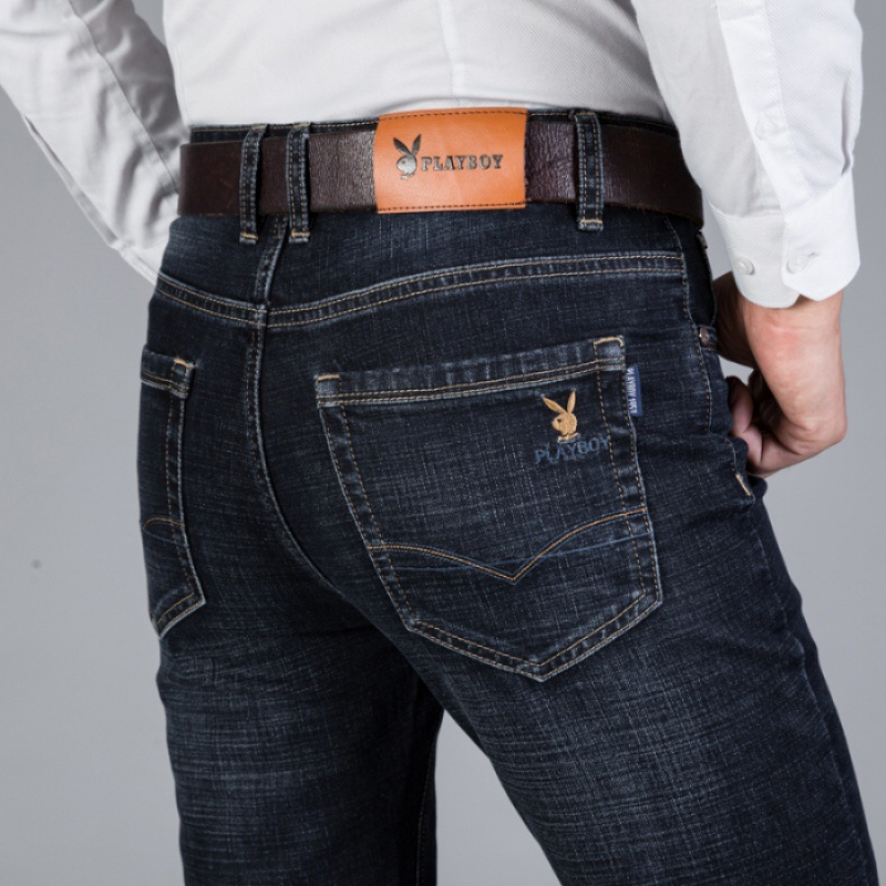 *** VIP Men Business Straight-Cut Jeans Autumn And Winter Thick Section Stretch Denim Trousers