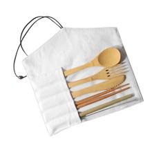Bamboo Cutlery Set Travel Utensils Biodegradable Wooden Dinnerware Outdoor Portable Flatware Zero Waste Fork Spoon Tableware Set