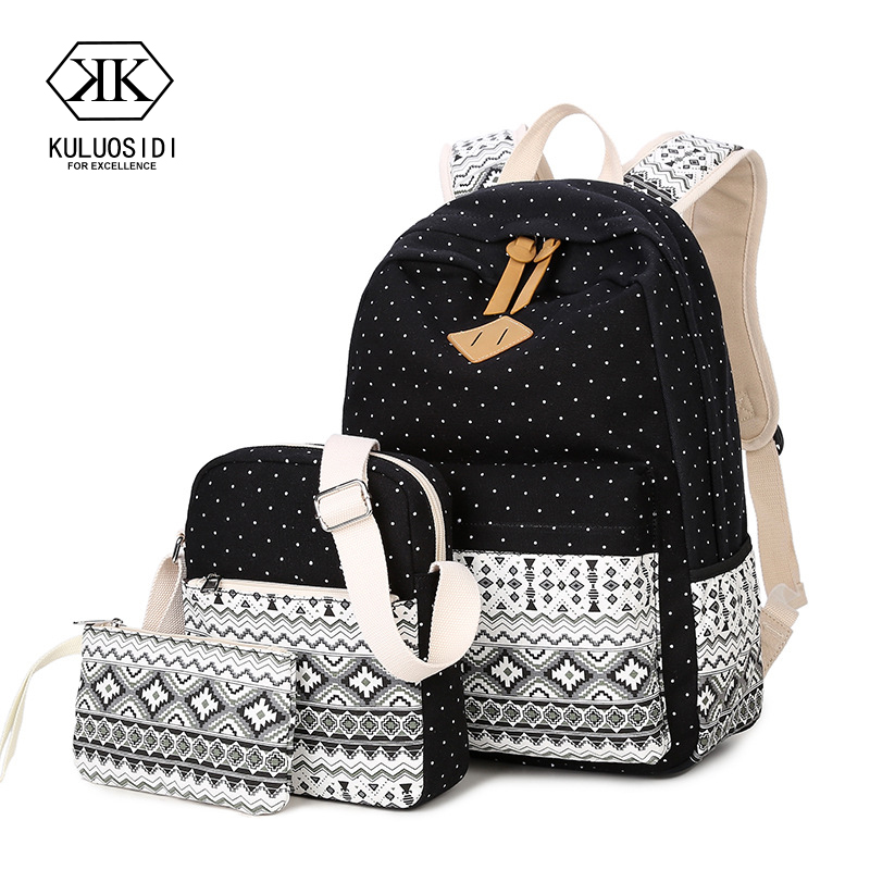 Printed Flower 3 Pcs Set Backpack With Purse Women Travel Backpack School Women Backpack For Teenage Girls School Bag